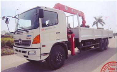 Xe tải Hino FL 3 chân thùng dài 9,2m gắn cẩu Unic 5 tấn 5 đốt