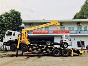 Xe tải Hyundai HD320 Nâng Đầu gắn cẩu Soosan 12 Tấn chở máy công trình